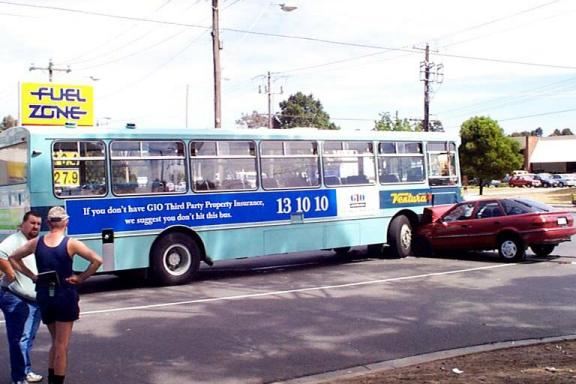 text on bus: If you don't have GIO Third Party Insurance, we suggest you don't hit this bus.